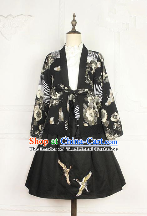 Traditional Japanese Restoring Ancient Kimono Costume Haori Crane Short Smock, China Kimono Modified Short Cardigan for Women