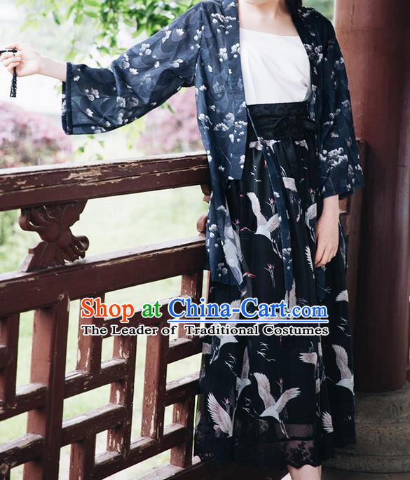 Traditional Japanese Restoring Ancient Kimono Costume Crane Bust Skirt, China Kimono Modified Crane Chiffon Long Skirt for Women