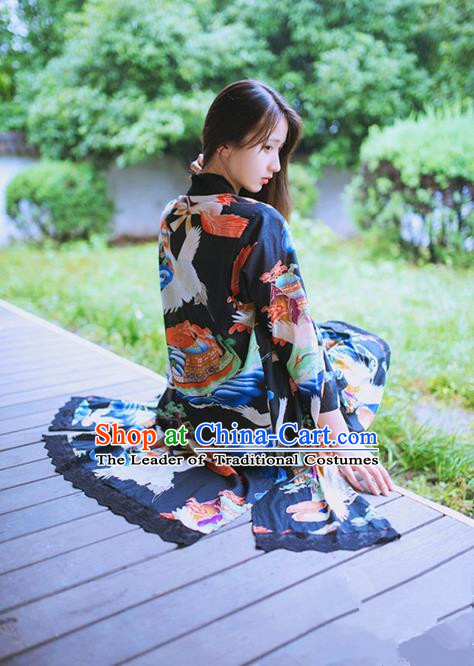 Traditional Japanese Restoring Ancient Kimono Costume Crane Smock, China Modified Long Cardigan for Women
