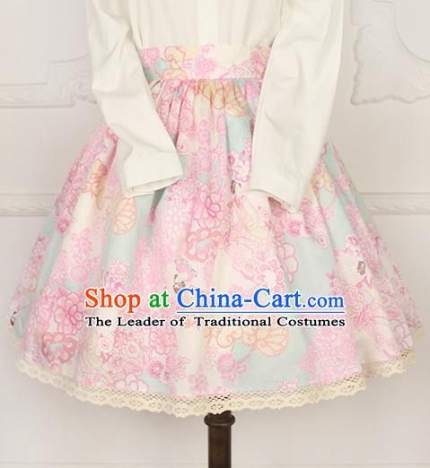 Traditional Japanese Restoring Ancient Kimono Costume Small Skirt, China Modified Short Sweet Lace Skirt for Women