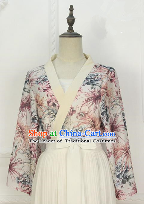 Traditional Japanese Restoring Ancient Kimono Costume Crane Smock, China Modified Double Side Short Cardigan for Women