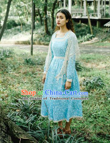 Traditional Classic Elegant Women Costume Lace One-Piece Dress, Restoring Ancient Princess Wave Point Long-Sleeved Lace Dress for Women