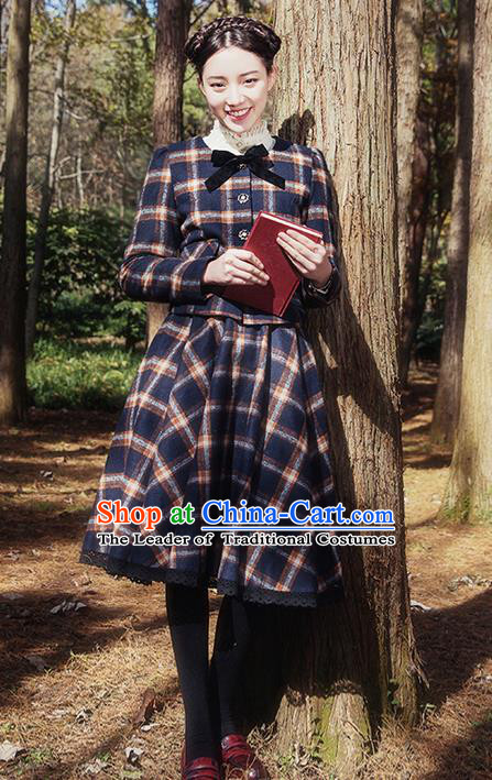 Traditional Classic Elegant Women Costume Complete Set Woolen Jacket and Bust Skirt, Restoring Ancient Wool Coat and Skirt for Women