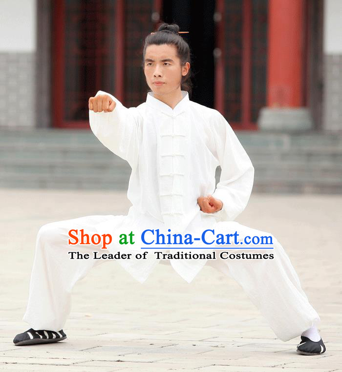 Traditional Chinese Wudang Uniform Taoist Uniform Linen Priest Frock Kungfu Kung Fu Clothing Clothes Pants Slant Opening Shirt Supplies Wu Gong Outfits, Chinese Tang Suit Wushu Clothing Tai Chi Suits Uniforms for Men