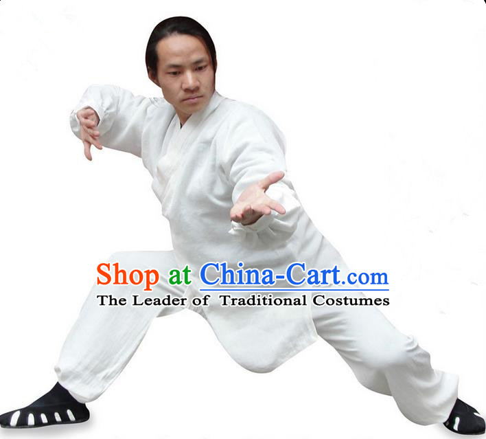 Traditional Chinese Wudang Uniform Taoist Uniform Thicken Linen Slant Opening Priest Frock Kungfu Kung Fu Clothing Clothes Pants Slant Opening Shirt Supplies Wu Gong Outfits, Chinese Tang Suit Wushu Clothing Tai Chi Suits Uniforms for Men