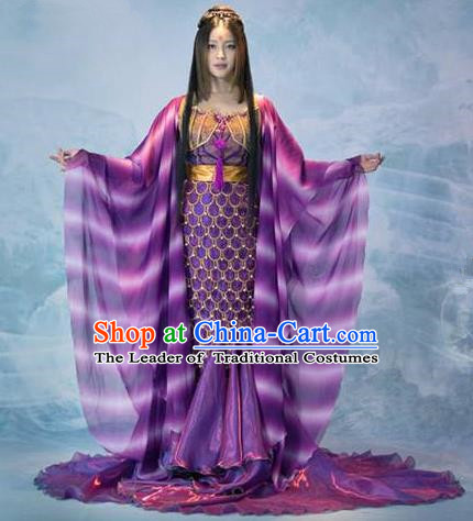 Traditional Chinese Minority Nationality Costumes Ancient Imperial Princess Wedding Costumes, Ancient Chinese Cosplay Queen Princess Fish Tail Costume and Hair Accessories Complete Set for Women