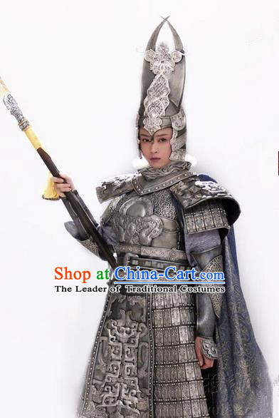 Traditional Chinese Ancient Female General Costumes, Ancient Chinese Cosplay General Swordsmen Knight General Costume Armour Complete Set for Women