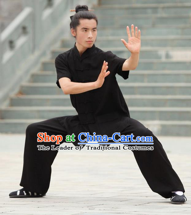 Traditional Chinese Wudang Uniform Taoist Uniform Priest Frock Complete Set Linen Kungfu Kung Fu Short Sleeve Clothing Clothes Pants Slant Opening Shirt Supplies Wu Gong Outfits, Chinese Tang Suit Wushu Clothing Tai Chi Suits Uniforms for Men