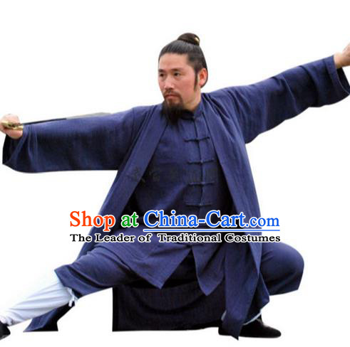 Traditional Chinese Wudang Uniform Taoist Uniform Linen Priest Frock Complete Set Kungfu Kung Fu Long Robe Clothing Clothes Pants Slant Opening Shirt Supplies Wu Gong Outfits, Chinese Tang Suit Wushu Clothing Tai Chi Suits Uniforms for Men