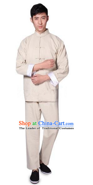 Traditional Chinese Wudang Uniform Taoist Bamboo Linen Uniform Complete Set Kungfu Kung Fu Clothing Clothes Pants Shirt Supplies Wu Gong Outfits, Chinese Tang Suit Wushu Clothing Tai Chi Suits Uniforms for Men