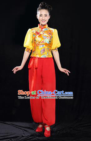 Traditional Chinese Classical Yangko Dance Dress, Yangge Fan Dancing Costume Puff Sleeve Yangko Suits, Folk Dance Yangko Costume for Women