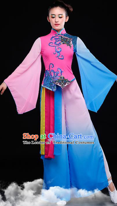 Traditional Chinese Classical Yangko Dance Dress, Yangge Fan Dancing Costume, Folk Dance Yangko Costume for Women