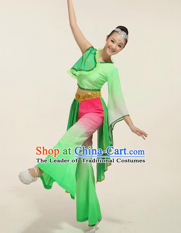 Traditional Chinese Classical Lotus Dance Yangko Dance Dress, Yangge Fan Dancing Costume, Folk Dance Yangko Costume for Women