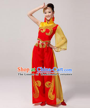 Traditional Chinese Classical Yangko Drum Dance Dress, Yangge Fan Dancing Costume Umbrella Dance Suits, Folk Dance Yangko Costume for Women
