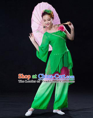 Traditional Chinese Classical Yangko Lotus Dance Dress, Yangge Fan Dancing Costume Umbrella Dance Suits, Folk Dance Yangko Costume for Women