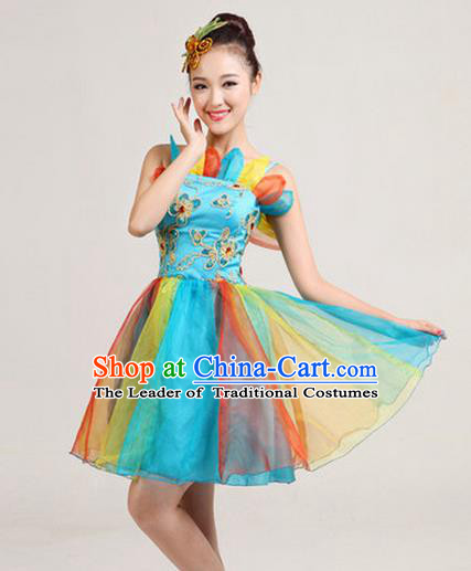 Traditional Chinese Classical Modern Dance Colorful Bubble Dress, Yangge Fan Dancing Costume Umbrella Dance Suits, Folk Dance Yangko Costume for Women