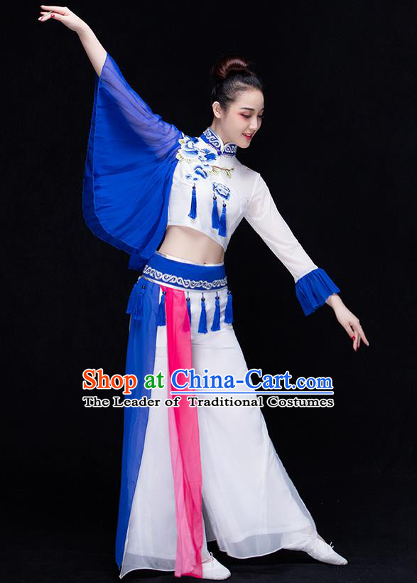 Traditional Chinese Classical Yangko Water-Sleeve Dance Blue and White Porcelain Dress, Yangge Fan Dancing Costume Umbrella Dance Suits, Folk Dance Yangko Costume for Women