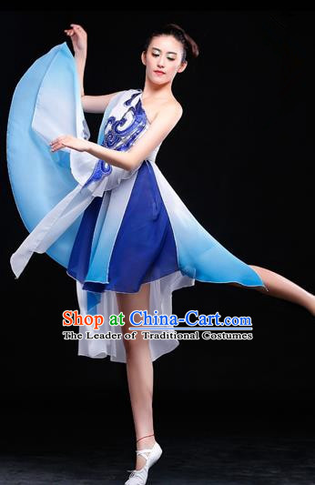 Traditional Chinese Classical Yangko Dance Gradient Dress, Yangge Fan Dancing Costume Umbrella Dance Suits, Folk Dance Yangko Costume for Women