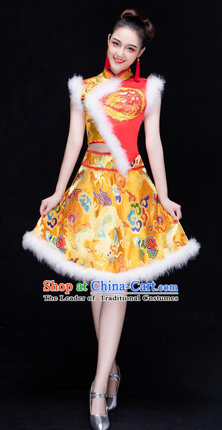 Traditional Chinese Classical Yangko Drum Dance Dress, New Year Yangge Fan Dancing Costume Umbrella Dance Suits, Folk Dance Yangko Costume for Women