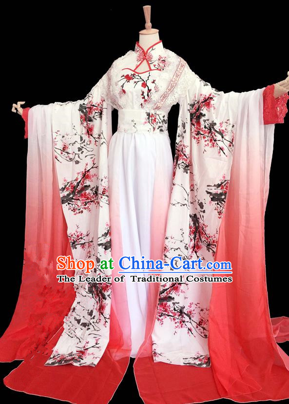 Traditional Chinese Ancient Princess Ink Plum Blossom Costumes, Chinese Han Dynasty Imperial Princess Wedding Bride Embroidery Clothes Complete Set for Women