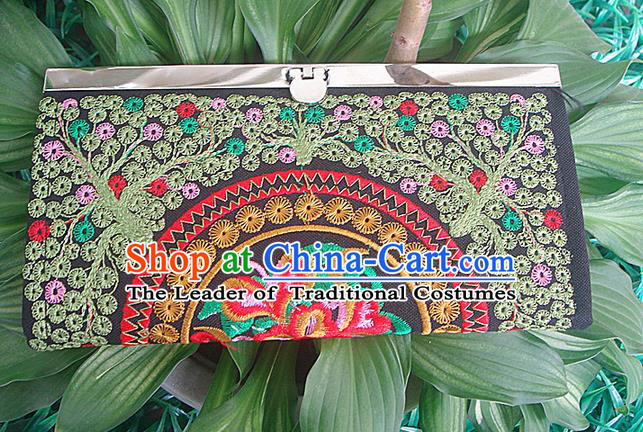 Traditional Chinese Miao Nationality Palace Handmade Double-Sided Embroidery Handbag Wallet Hmong Handmade Embroidery Purse for Women