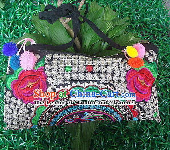 Traditional Chinese Miao Nationality Palace Handmade Double-Sided Embroidery Peony Handbag Hmong Handmade Embroidery Canvas Messenger Bags for Women