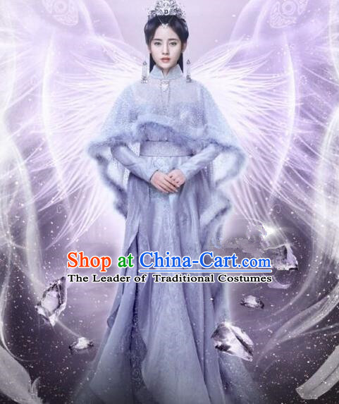 Traditional Chinese Ancient Female Costumes Fairy Costume, Chinese Han Dynasty Imperial Princess Embroidery Clothes and Hair Accessories Complete Set for Women