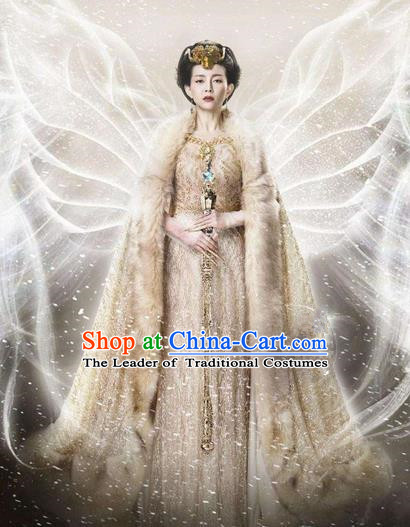 Traditional Chinese Ancient Female Costumes Imperial Emperess Costume, Chinese Han Dynasty Imperial Queen Embroidery Clothes and Hair Accessories Complete Set for Women