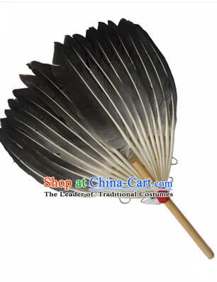 Kong Ming Fan Goose Feather Fan Stage Show Dance properties Grey