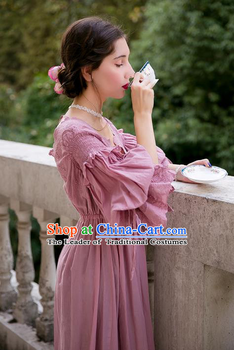 Traditional Classic Women Clothing, Traditional Classic Pink Silk Pajamas Heavy Lace Embroidery Evening Dress Restoring Garment Skirt Braces Skirt, Long Skirt