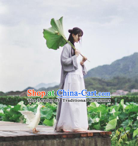 Traditional Classic Women Clothing, Traditional Chinese Style Yarn Hanfu, Classic Long Cape Cardigan, Long Yarn Coat