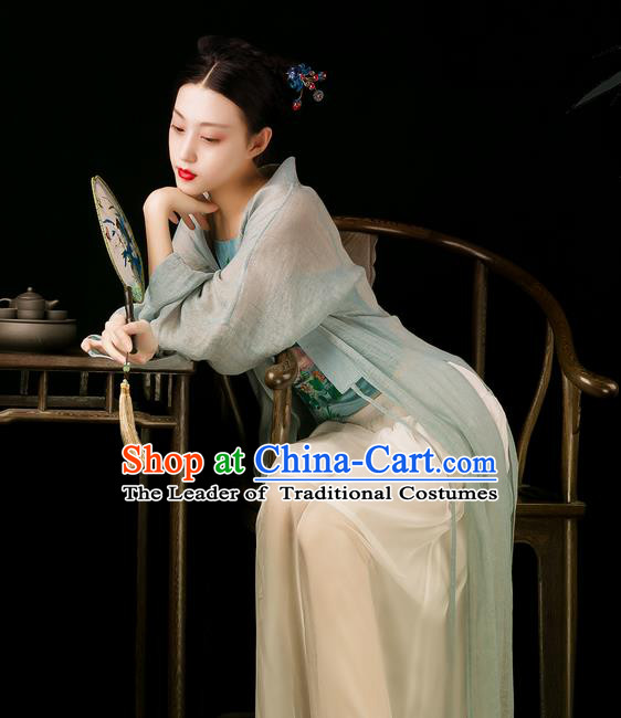 Traditional Classic Women Clothing, Traditional Chinese Style Yarn Hanfu, Classic Long Cape Cardigan, Han Dynasty Long Yarn Coat