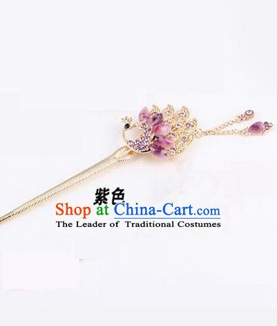 Korean Traditional Style Hairpins Bride Head Wear Up Do Tassels Bu Yao Peacock Spreading Tail Feathers Hair Clasp Purple