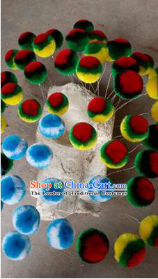 Peking Opera Head Wear Pompoms Accessories Pendant 8.5cm Multiple Colors