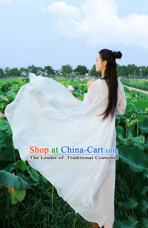 Traditional Classic Women Clothing, Traditional Chinese Emulation Silk Shawl Posed Hanfu Thin White Chiffon Elegant Cappa