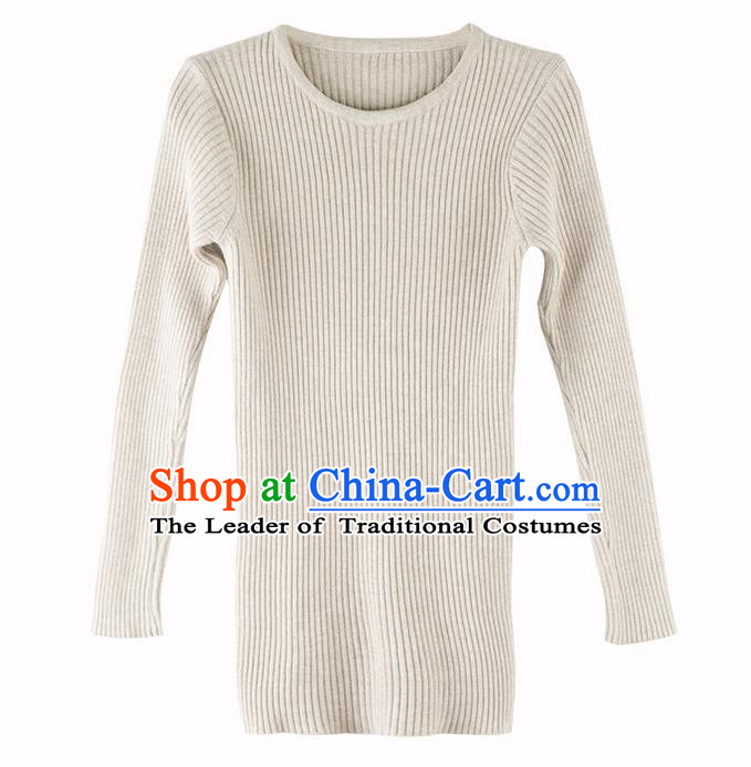 Traditional Classic Women Costumes, Traditional Classic Cotton Comfortable Round Neck Long Sleeve Render Base Sweater