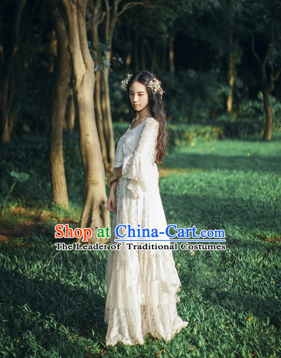 Traditional Classic Women Costumes, Traditional Classic Whole Body Delicate Embroidery Lace Dress Restoring Long Skirts