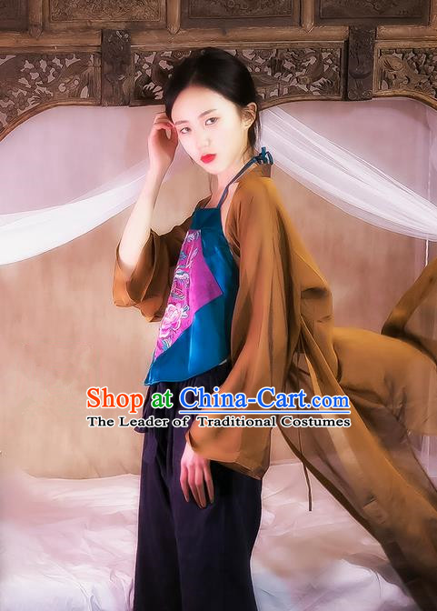 Traditional Classic Women Costumes, Traditional Classic Brown Silk Gauze Chinese Hanfu Cardigan Long Shawl