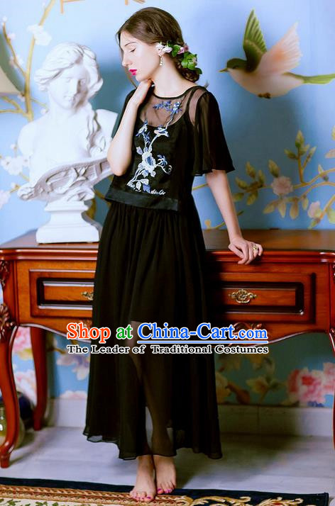Traditional Classic Women Costumes, Traditional Classic Embroidered Emulation Silk Georgette Dress Long Skirts