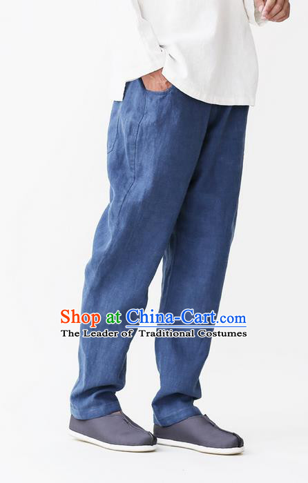Traditional Chinese Linen Tang Suit Trousers, Chinese Ancient Costumes Linen Pants