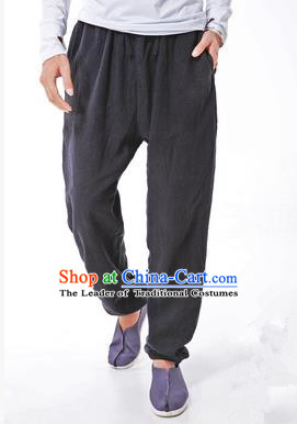 Traditional Chinese Linen Tang Suit Trousers, Chinese Ancient Costumes Signature Cotton Leg Pants Lay Pants Zen Pants
