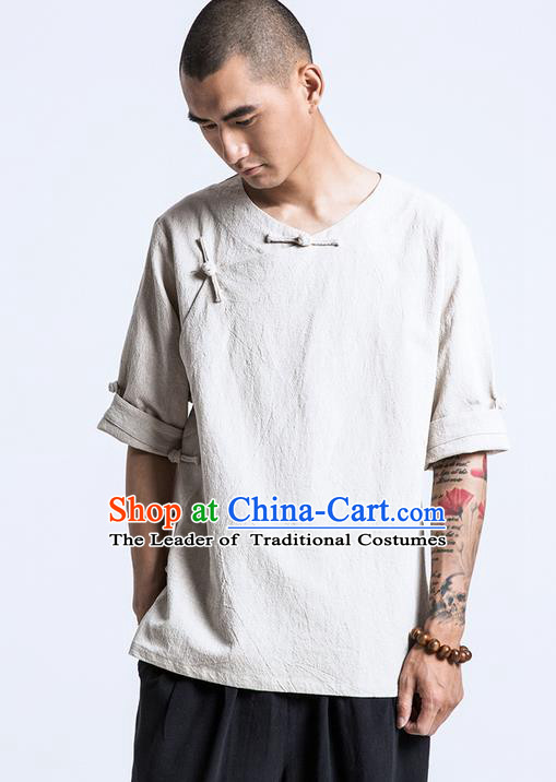 Traditional Chinese Men Short Sleeve T-Shirt, Flax Tang Suit Slant Opening Plate Buttons T-Shirt for Men