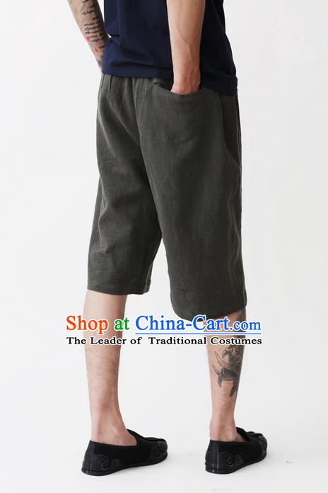 Traditional Chinese Linen Tang Suit Men Shorts, Chinese Ancient Costumes Linen Short Pants for Men