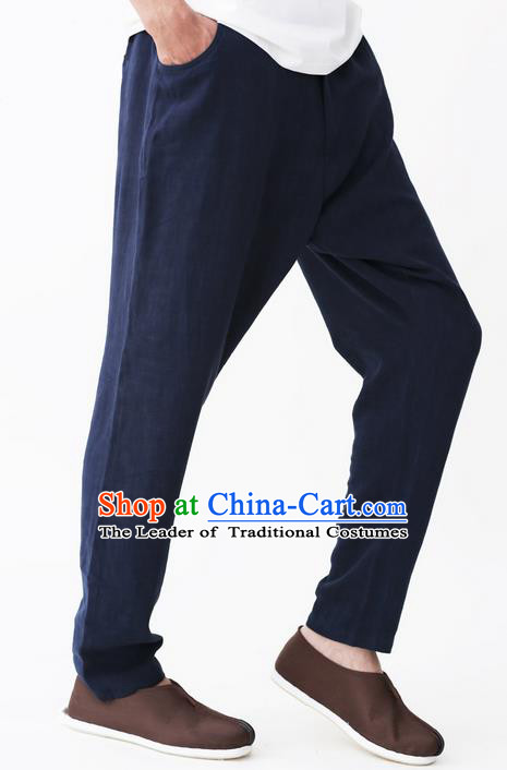 Traditional Chinese Linen Tang Suit Men Trousers, Chinese Ancient Costumes Linen Pants for Men