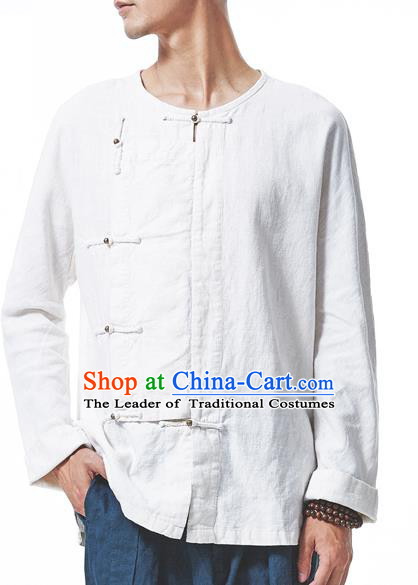 Traditional Chinese Linen Tang Suit Men Slant Opening Brass Buckle Long Sleeve Shirts, Chinese Ancient Costumes Linen Dress Shirt for Men