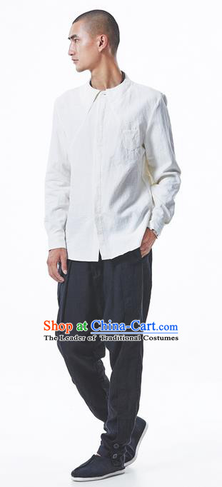Traditional Chinese Linen Tang Suit Men Trousers, Chinese Ancient Costumes Cotton Pants, Straight Foot Trousers Zen Pants for Men