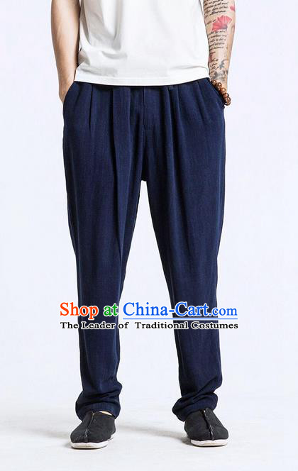 Traditional Chinese Linen Tang Suit Men Trousers, Chinese Ancient Costumes Cotton Pants, Ruffle Leisure Slacks Pants for Men