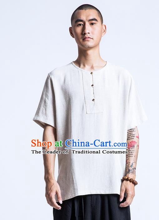 Traditional Chinese Linen Tang Suit Men Costumes, Chinese Ancient Round Neck Silk Floss Short Sleeved T-Shirt Brass Buttons Costume for Men