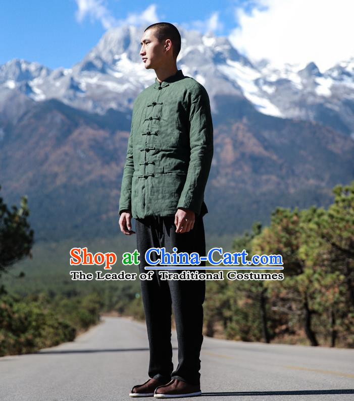 Traditional Chinese Linen Tang Suit Men Costumes, Chinese Ancient Thicken Cotton-Padded Jacket, Front Opening Brass Buttons Cotton Wadded Robe for Men
