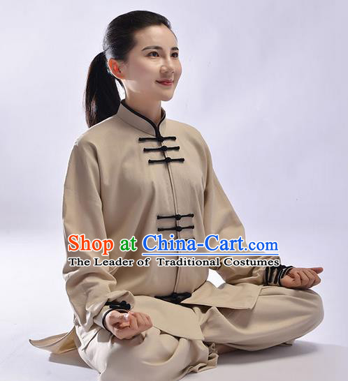 Top Natural Linen Kung Fu Costume Martial Arts Kung Fu Training Uniform Gongfu Shaolin Wushu Clothing Tai Chi Taiji Teacher Suits Uniforms for Women